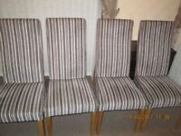 6 Fabric Dining Chairs. Beige, brown, grey, lilac stripe. Teak legs