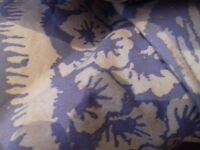 Excellent stylish traditional lined curtains, blue and white, 19 c. style