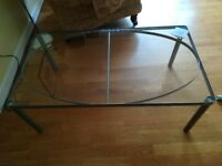 Glass top table 3ft 6in x 2ft