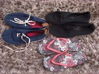 Size 6, 2 pairs of lace up pumps, flip flops. £1. Torquay.
