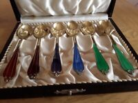 Set of 6 Sterling silver gilded Denmark enamel boxed coffee spoons