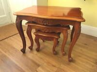 Solid Mahogany French Style Nest Of Tables/Coffee Tables