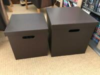 Brown Leather Storage Boxes