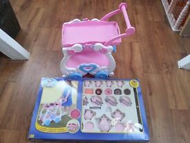 kids plastic food trolley. with complete food plate set like new.