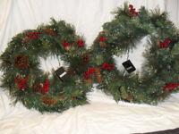 TWO PRE-LIT CHRISTMAS WREATHS