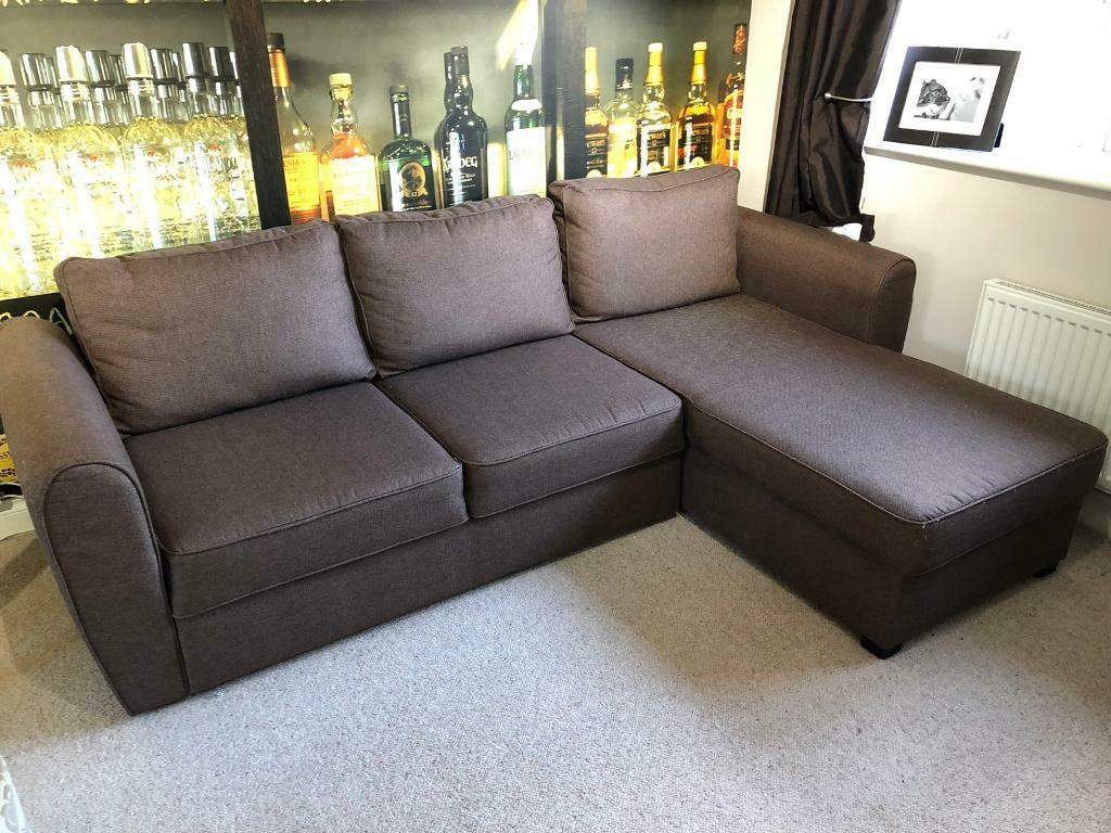 Large Brown Right or Left Handed Sofa Bed L Corner Chaise Lounge With Storage