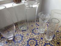 6 glass vases - 3 large, 3 medium-small