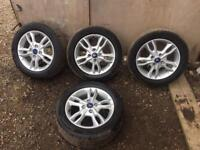 "Set of 4 15"" Ford Fiesta alloy wheels with tyres"
