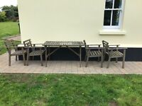 Garden table and four chairs, wooden.