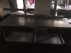 Stainless Steel Table Large 190 cm wide x 75cm deep x 90 cm high ,Good Condition Others Available