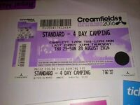 Creamfields 2016 standard 4 day camping ticket £180