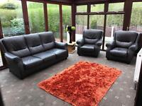 Brown Leather 3 Piece Suite 3 Seater Sofa + 2 Armchairs