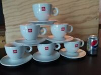6 Illy Coffee Cups white 12oz porcelaine with saucer
