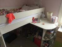 Stompa Uno Mid sleeper Cabin Bed with integrated Desk, 2 years old, smoke free home and mattress