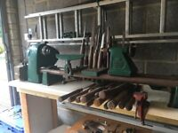 Coronet Wood Turning Lathe with multiple accessories, chisels + Clarks Metal Drill Press