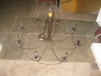Antique-style 8 candle chandelier in antique copper finish