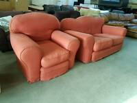 Red modern fabric two seater and armchair