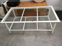 White Coffee Table w/ Glass Top