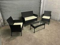FREE DELIVERY BRAND NEW BLACK GARDEN RATTAN FURNITURE SOFA, TWO CHAIRS & TABLE SET IN BOX