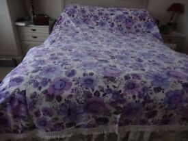 PURPLE FLORAL BEDSPREAD FOR DOUBLE BED - VINTAGE DESIGN