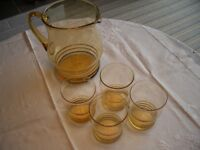 Vintage Glass Jug with Four Matching Glasses