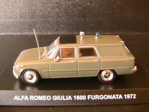alfa romeo giulia 1600 furgonata 1972 carabinieri deagostini 1 43 break tolee ebay. Black Bedroom Furniture Sets. Home Design Ideas