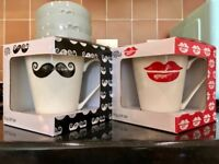 Four New Dunelm Mr & Mrs Coffee Tea Mugs