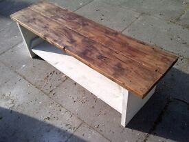 rustic tv stand reclaimed wood side table display aprox 5ft shabby chic