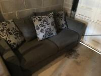 Grey 3 seater sofa with matching scatter cushions