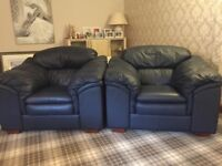 Excellent condition two seater leather sofa and one chair for sale.