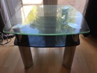 Pair of glass lamp / coffee tables