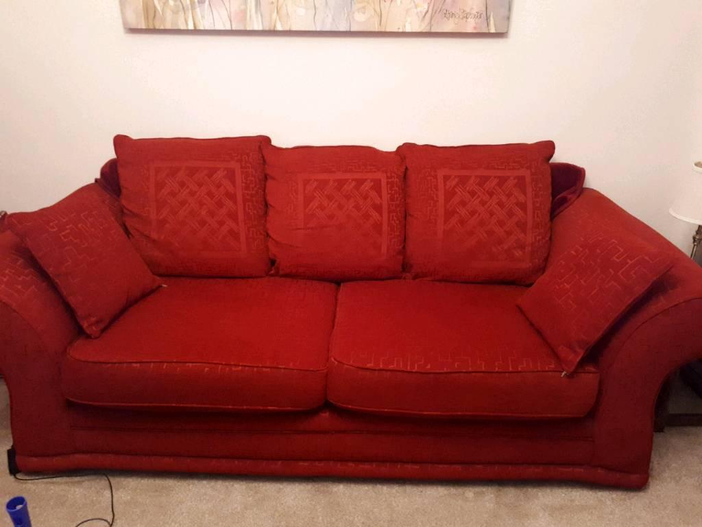 Dark red sofa. | in Woodville, Derbyshire | Gumtree