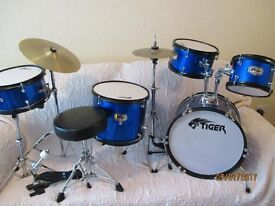Tiger 5 Piece Drum Set with Padded Adjustable Stool Great Starter Kit