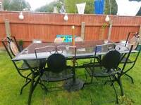 6 garden chair and glass table