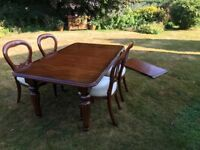 Reproduction Dining Table with Balloon Back Chairs