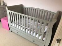 Shabby-chic sleigh cot with detachable sides