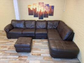 Comfy Long Brown Leather Corner Sofa