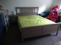 Double bed (King Size) and side bed tables (Hemnes)