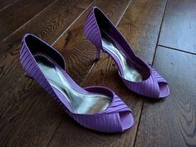 Monsoon Women's Peep Toe Shoe in Rose Pink Satin (Size 4 UK / 37 EU) - Wedding Party Heel