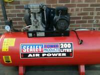 SEALEY SA 1020 / 3 AIR COMPRESSOR 200 LTR TANK AS NEW CONDITION EXCELLENT WORKING ORDER