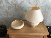 Denby table lamp and matching bowl.