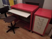 Ikea red computer desk and drawers and chair