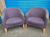 SET OF FUNKY PURPLE TUB CHAIRS