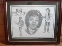 Framed Print Collage of Jimi Hendrix Art Drawing.