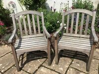 2 Hardwood Garden Patio Chairs and Cushions, Plus Free Table and Bench