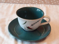 Denby Greenwheat Pottery Tea Cups and Saucers
