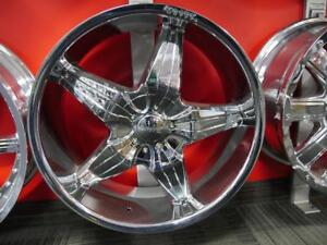 22 INCH NEW CHROME RIMS - 5 STAR DEEP DISH - 6X139.7 + 6X135 - RIM SALE