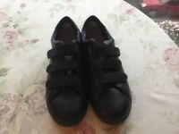 Hotter Banda black leather shoes trainer style size 8 new