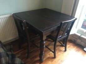 Vintage mahogany table with four matching chairs