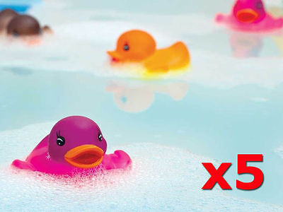 5x RUBBER COLOUR CHANGING To White DUCKS FUN KIDS BATH TOY BABY DUCK TIME HEAT